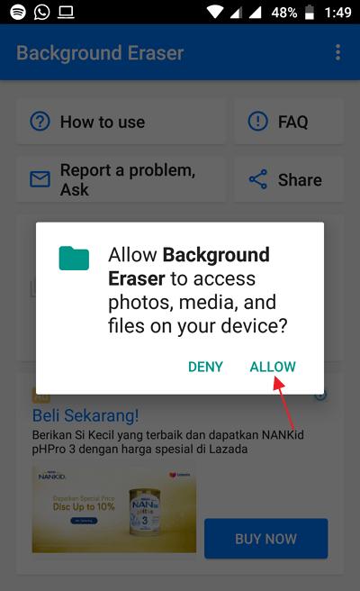 Menggunakan Background Eraser 3