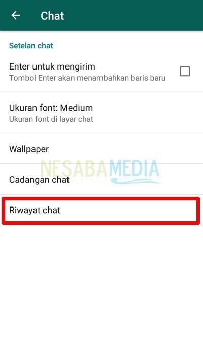 Pilih opsi Riwayat Chat