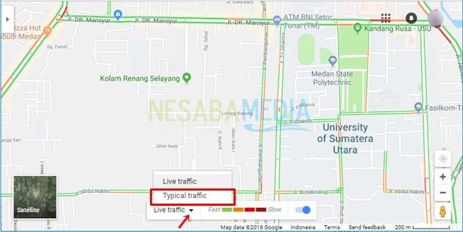begini cara melihat jalan macet di Google Maps