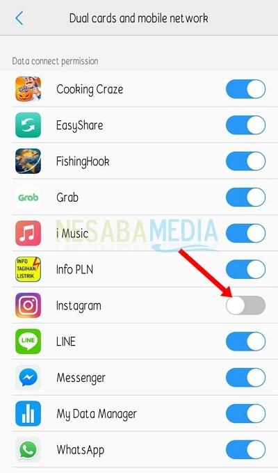 Nonaktifkan akses internet pada instagram