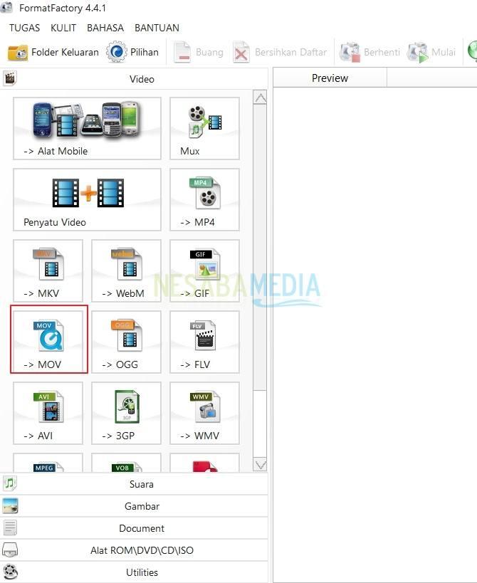 1-pilih format file