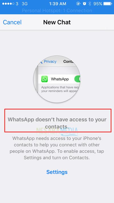 informasi tidak dapat akses kontak