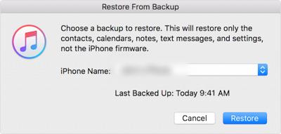 restore dengan iTunes