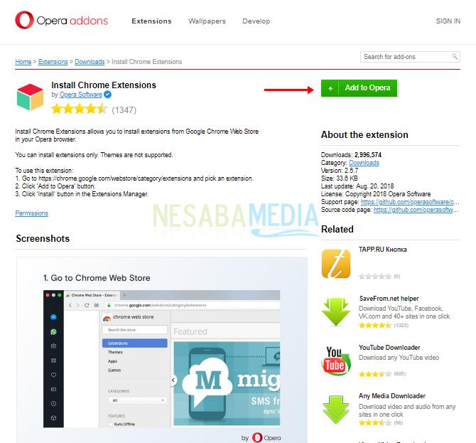 Cara 1 - cara install ekstensi Google Chrome di Opera