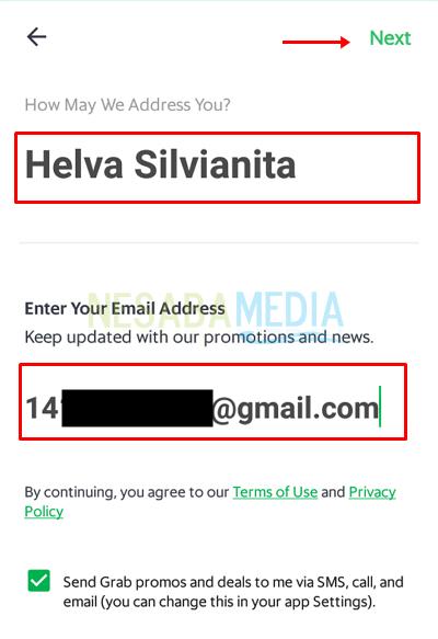 awal 4 - masukkan nama Anda lalu isi alamat email kemudian pilih Next