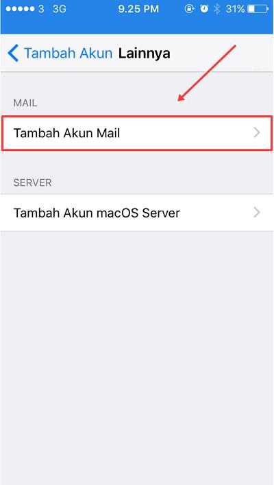 pilih dan tekan tambah akun mail