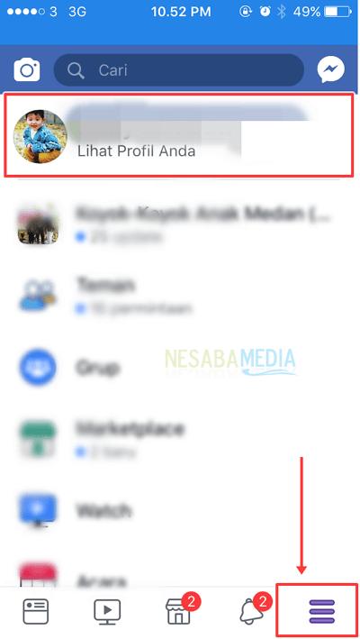 tekan menu facebook