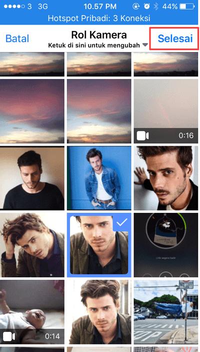 pilih foto yang akan di jadikan foto profil