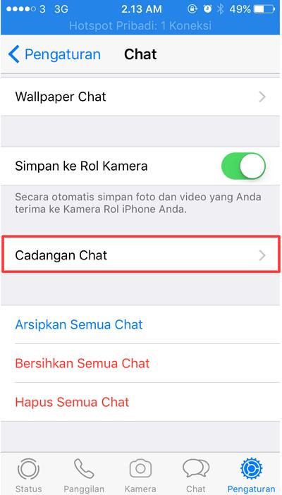 tekan cadangan chat