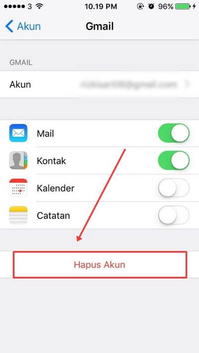 Cara Logout Email di Iphone