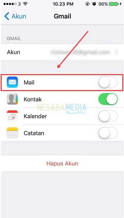 geser tombol mail ke arah kiri