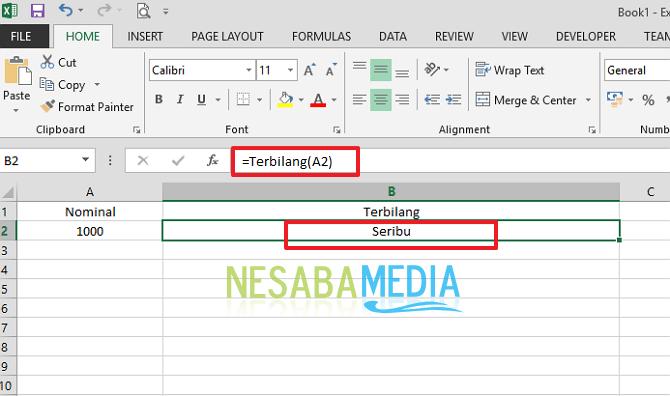 cara membuat kwitansi angka terbilang di Ms. Excel