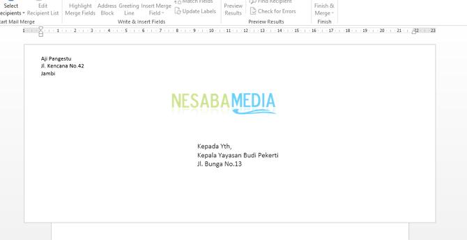Contoh Label Amplop Surat di Microsoft Word