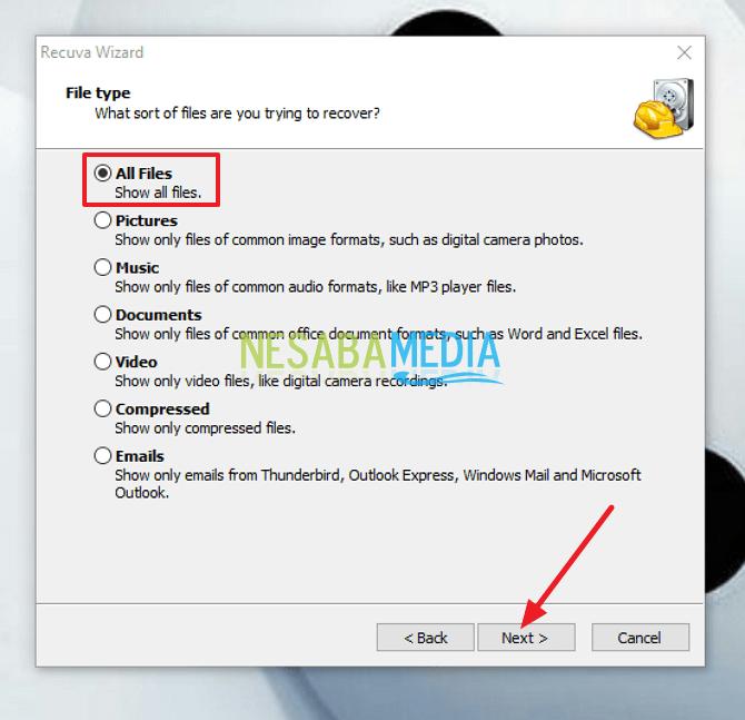 pilih tipe file