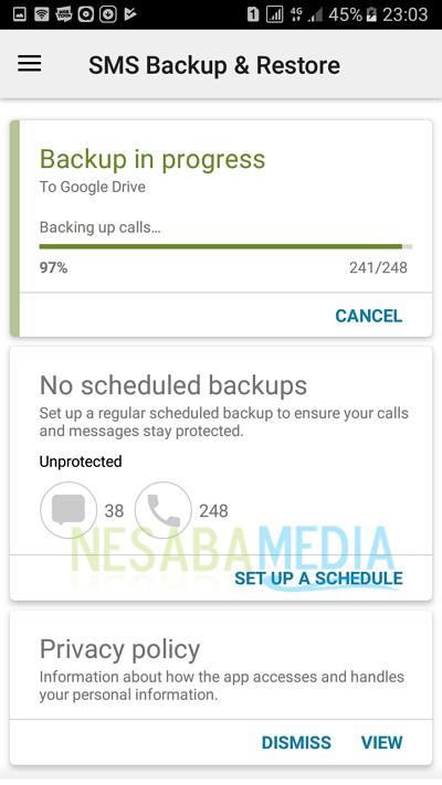 proses backup sms