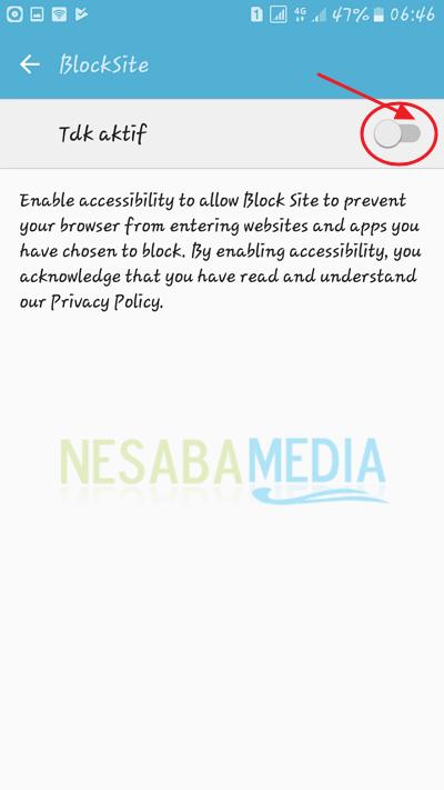 aktifkan block site
