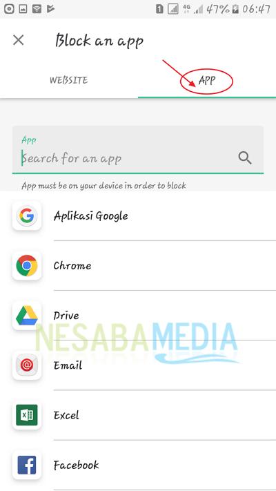 pilih aplikasi yang di blokir
