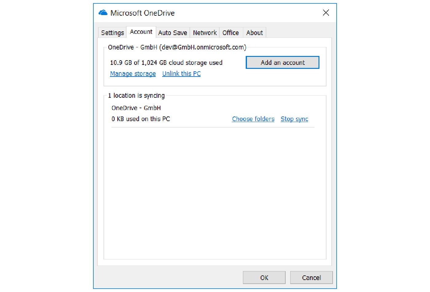 Tampilan Microsoft OneDrive