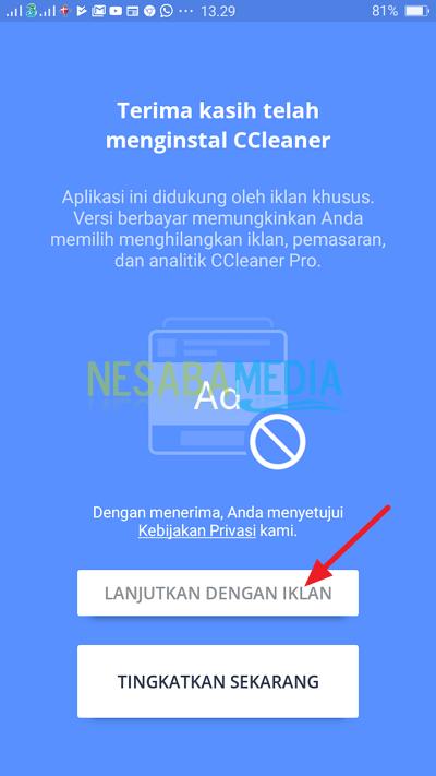 klik lanjutkan dengan iklan