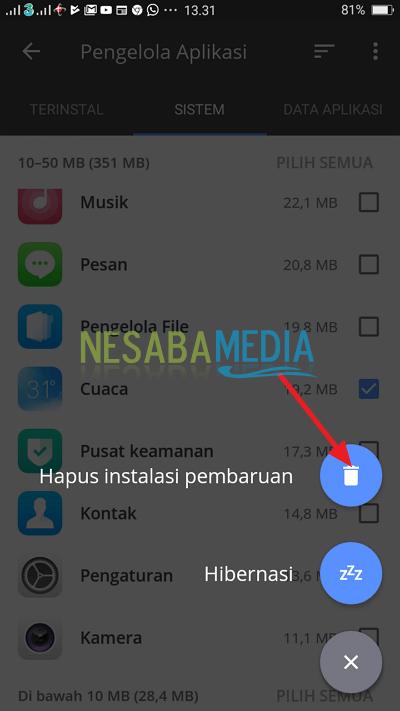 klik ikon tempat sampah