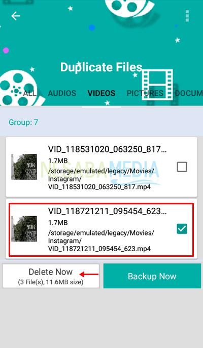 cara 5 - pilih file yang ingin dihapus lalu pilih Delete Now