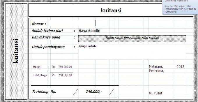Cara Membuat Kwitansi Angka Terbilang di Microsoft Excel