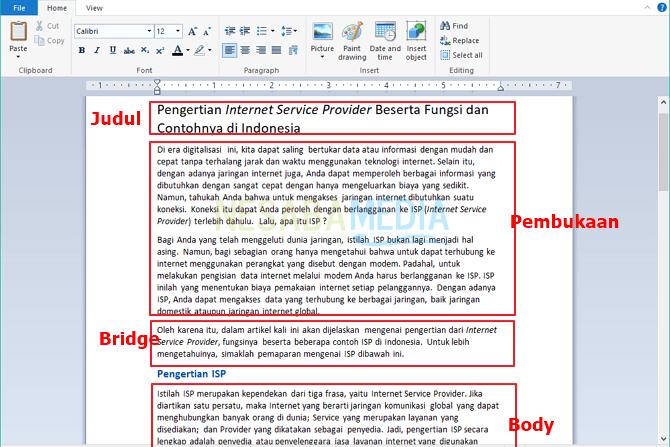 pengertian artikel dan contoh struktur artikel