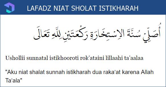Lafazd Niat Sholat Istikharah