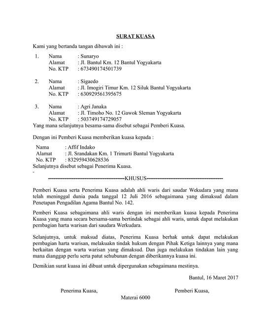 contoh surat kuasa ahli waris