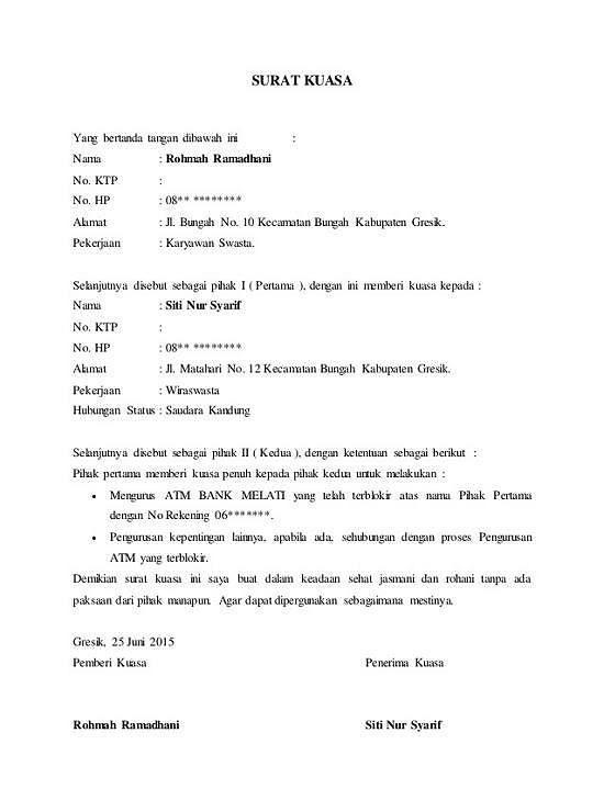 contoh surat kuasa atm terblokir di bank