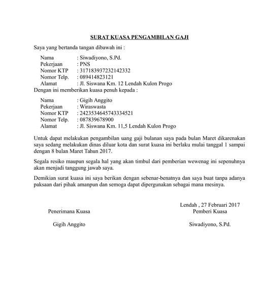 contoh surat kuasa pengambilan uang gaji