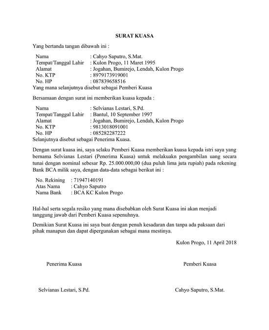10 Contoh Surat Kuasa Untuk Berbagai Keperluan File Doc