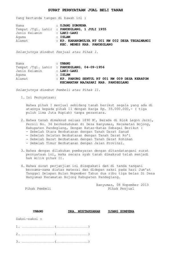 10 Contoh Surat Pernyataan Untuk Berbagai Keperluan File Doc