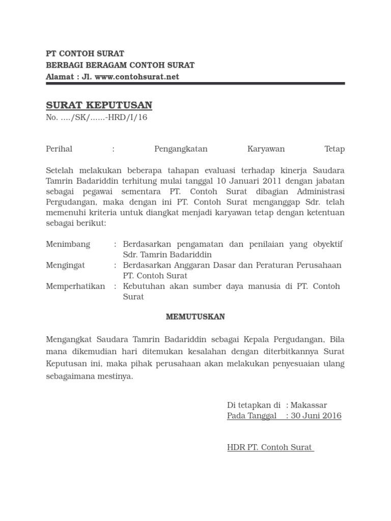 Contoh Surat Keputusan Pengangkatan Karyawan Tetap