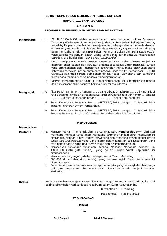 10 Contoh Surat Keputusan Pengangkatan Karyawan Dll Lengkap