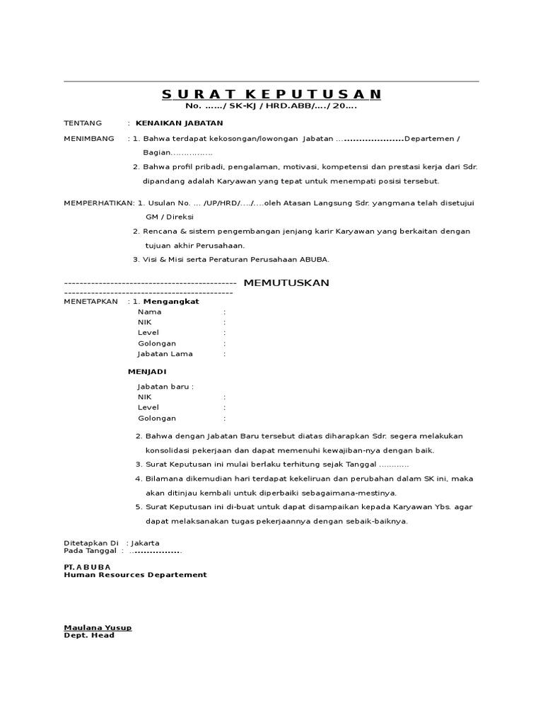 Contoh Surat Keputusan Pengangkatan Jabatan