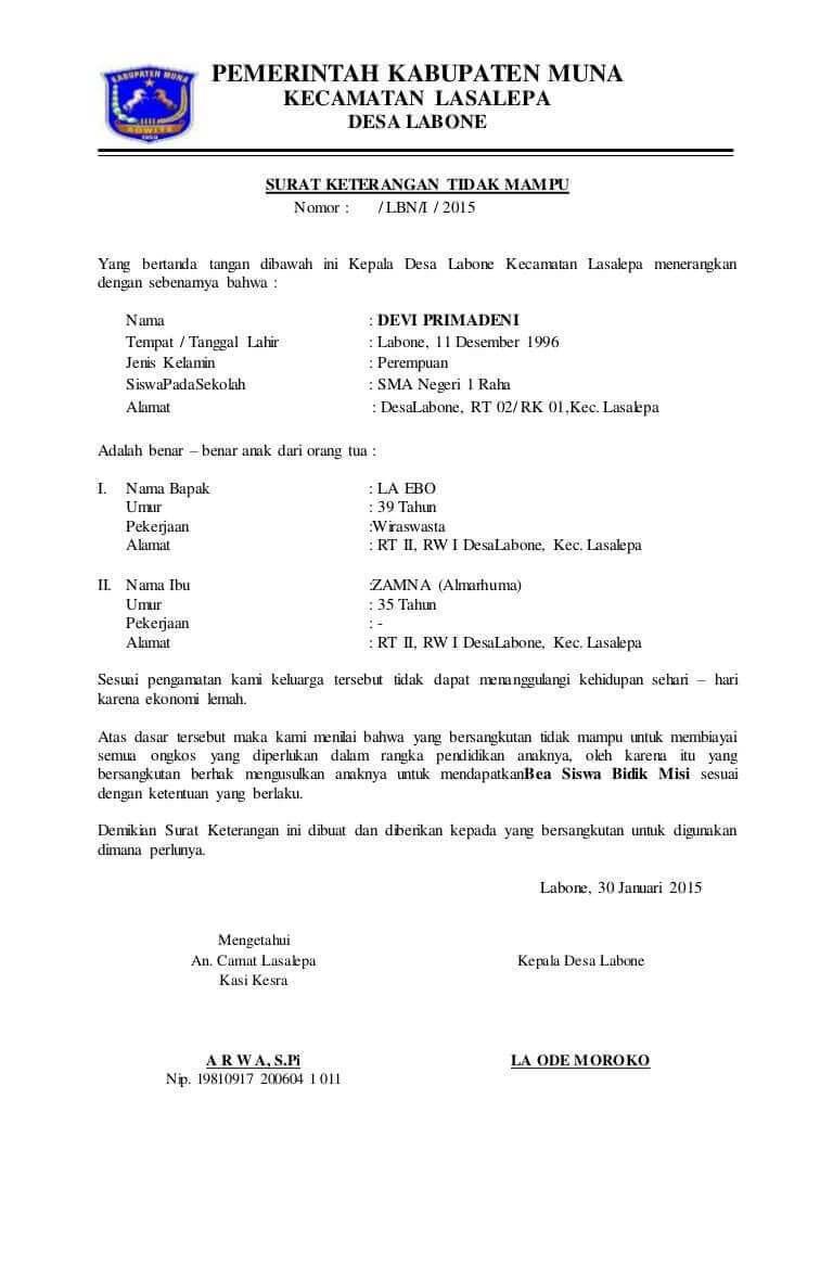 Contoh Surat Keterangan Penghasilan Orang Tua Dari Kepala Desa Kumpulan Surat Penting