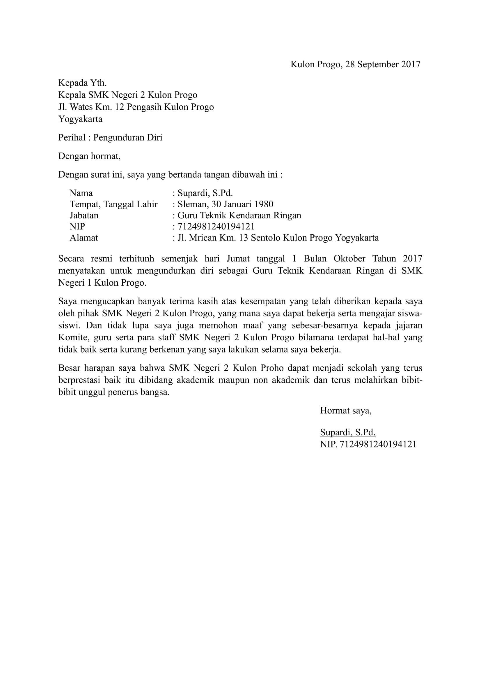 Contoh Surat Resign dari Guru