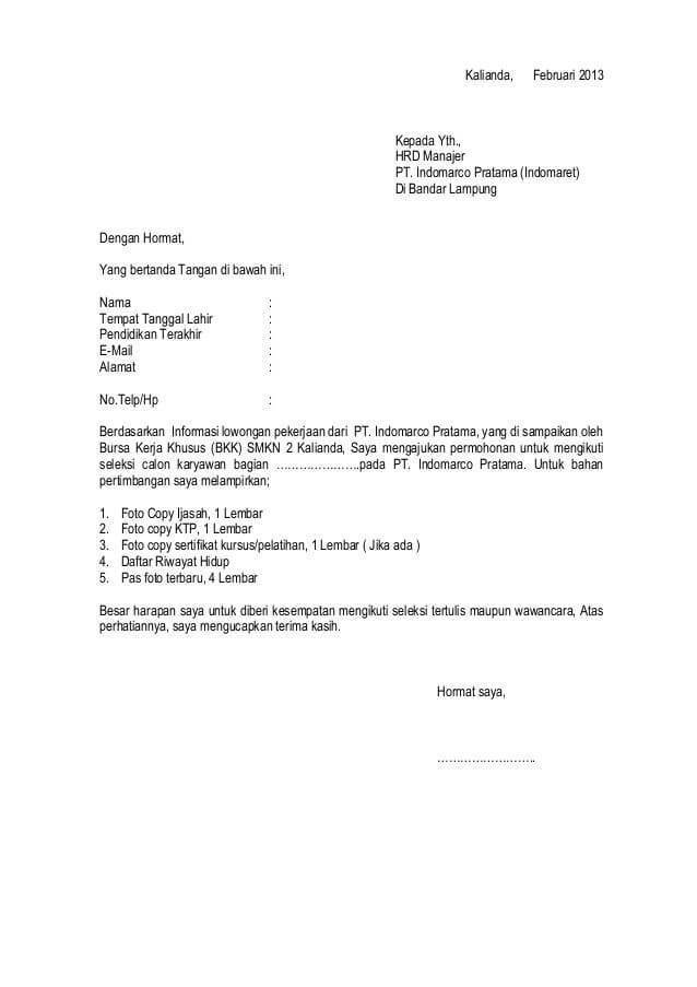Contoh Surat Lamaran Kerja Bagian Administrasi Kumpulan Contoh Gambar