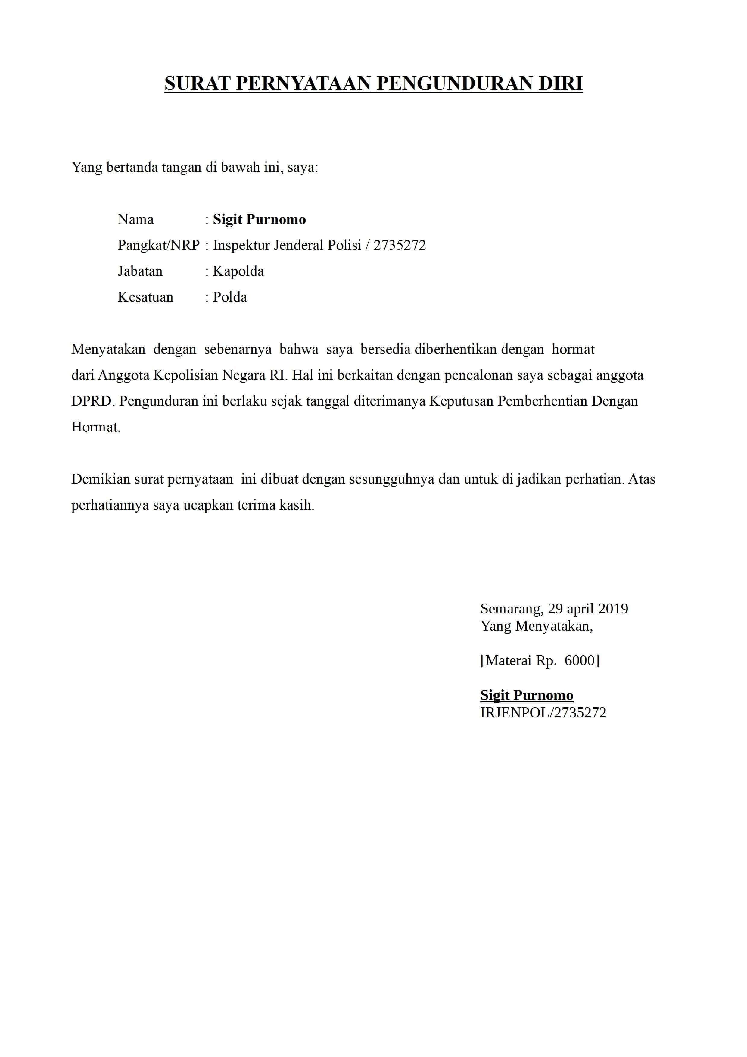 10 Contoh Surat Pengunduran Diri Resign Dari Kerja File Doc