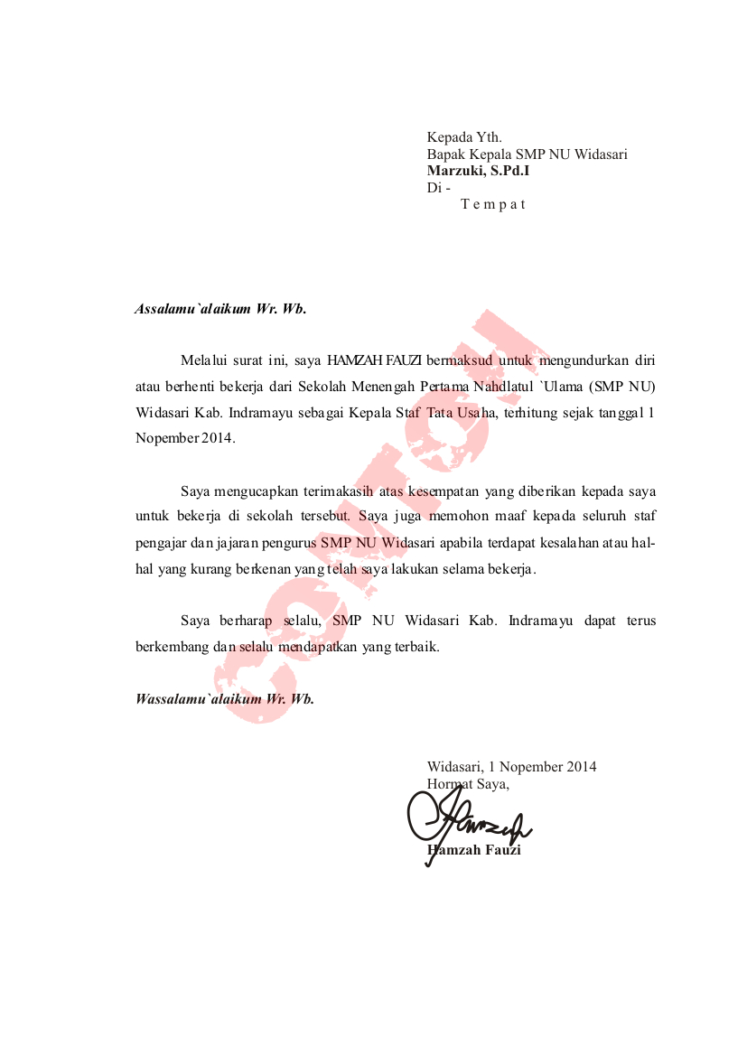 10 Contoh Surat Pengunduran Diri Resign Dari Kerja File