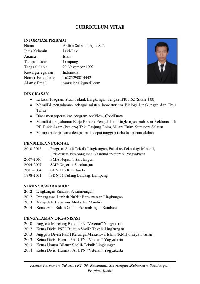 Contoh CV untuk Mahasiswa