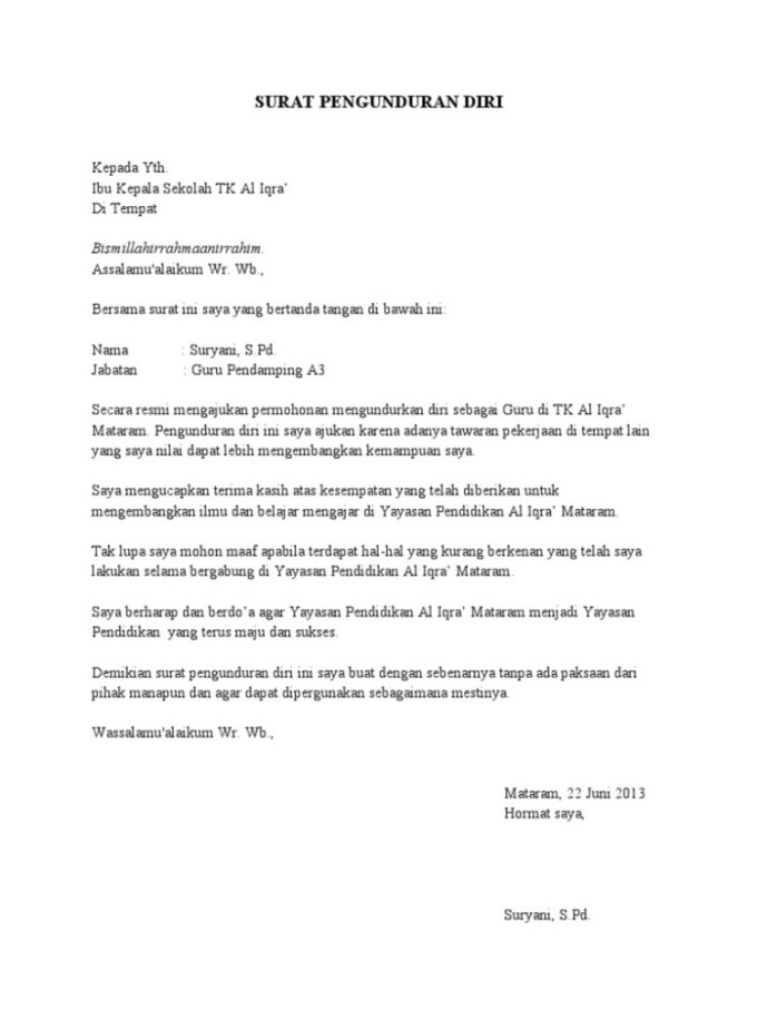 10+ Contoh Surat Pengunduran Diri / Resign dari Kerja ...