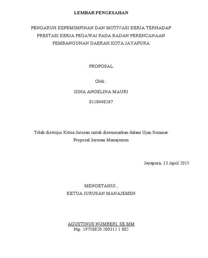 Contoh Lembar Pengesahan Proposal Penelitian