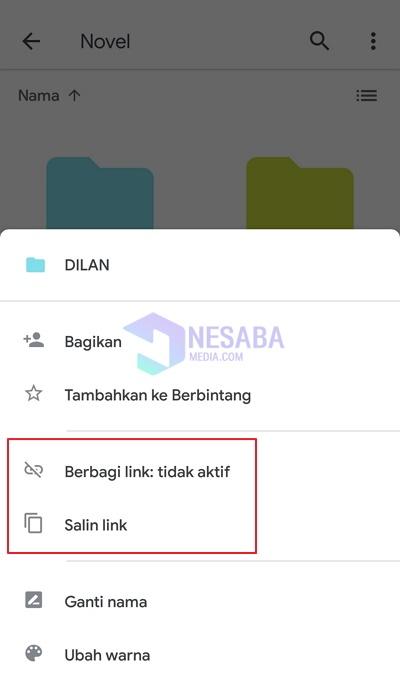 cara share link google drive di HP Android
