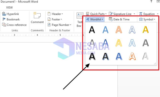 pilih desain text word art