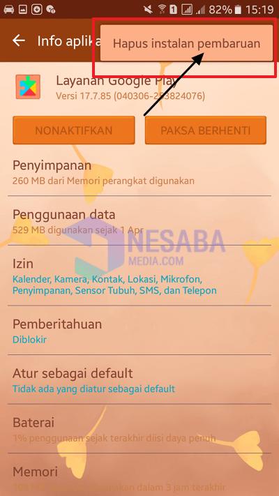 hapus installan aplikasi
