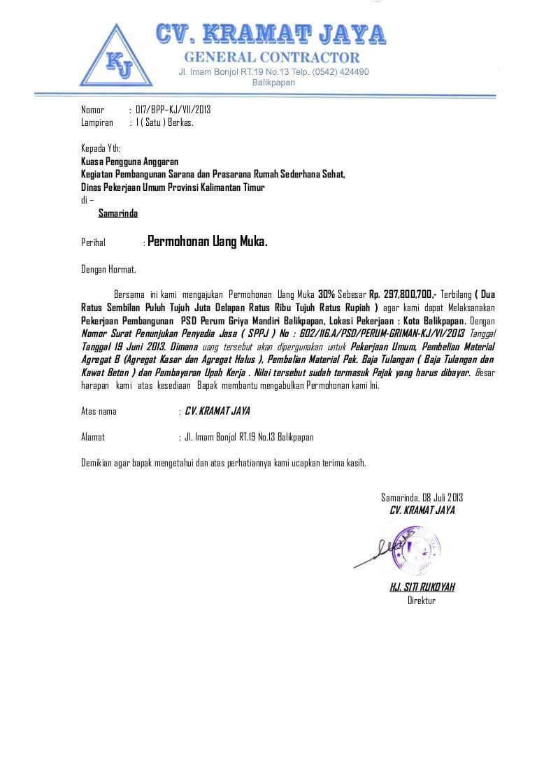 Contoh Surat Niaga Penangguhan Pembayaran