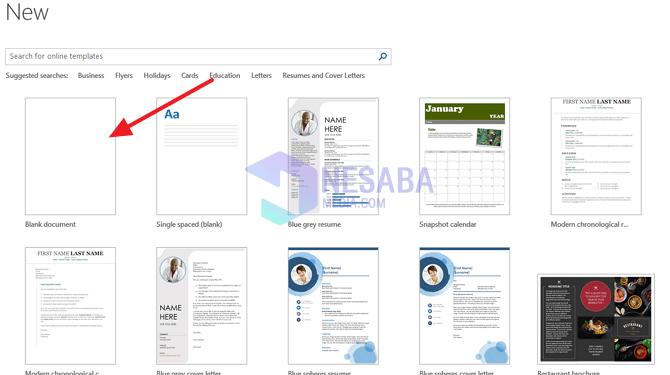klik blank dokumen