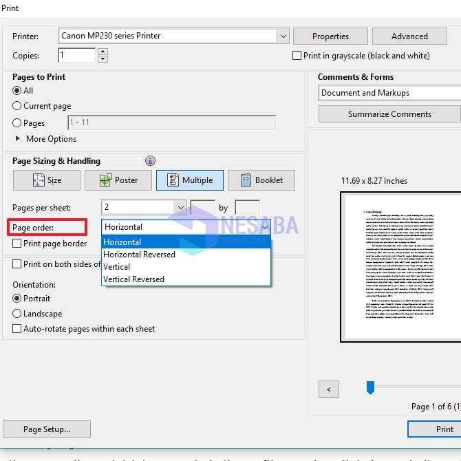 begini cara print PDF 1 lembar 2 halaman